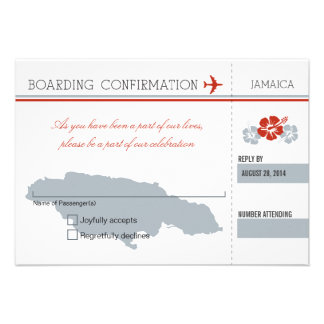 Documento de embarque de RSVP a JAMAICA Invitación Personalizada