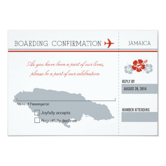 Documento de embarque de RSVP a JAMAICA Invitación 8,9 X 12,7 Cm