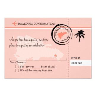 Documento de embarque de RSVP a la República Domin Invitacion Personalizada