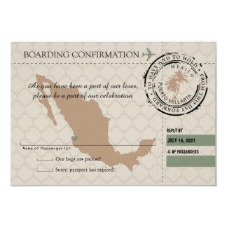 """Documento de embarque de RSVP a México Invitación 3.5"""" X 5"""""""