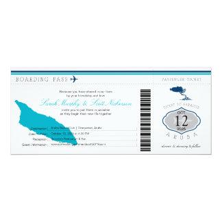 Documento de embarque del boda a Aruba Invitación 10,1 X 23,5 Cm