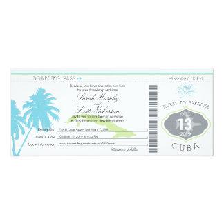 """Documento de embarque del boda a Cuba Invitación 4"""" X 9.25"""""""
