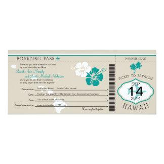 """Documento de embarque del boda a Hawaii Invitación 4"""" X 9.25"""""""