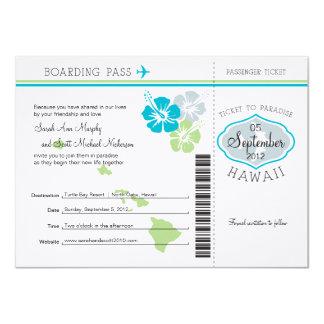 Documento de embarque del boda a Hawaii Invitación 11,4 X 15,8 Cm