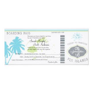 """Documento de embarque del boda a las Islas Fiji Invitación 4"""" X 9.25"""""""