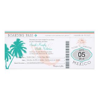 Documento de embarque del boda a México Invitación Personalizada