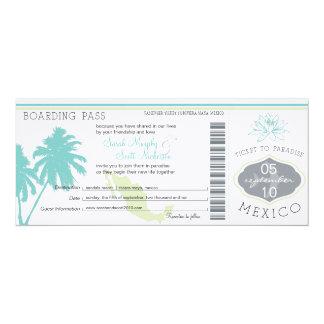 "Documento de embarque del boda a México Invitación 4"" X 9.25"""