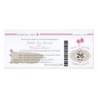 """Documento de embarque del boda de la palmera de invitación 4"""" x 9.25"""""""