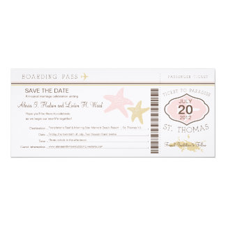 """Documento de embarque del boda de St Thomas Invitación 4"""" X 9.25"""""""
