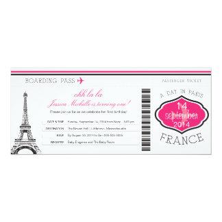 """Documento de embarque del cumpleaños a París Invitación 4"""" X 9.25"""""""