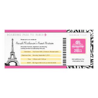 Documento de embarque del dulce 16 a París Invitacion Personalizada