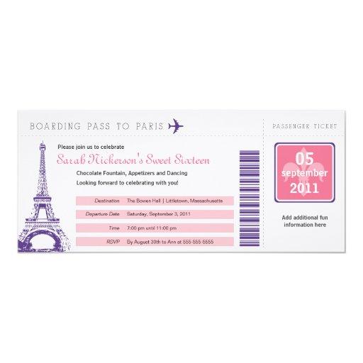 """Documento de embarque del dulce 16 a París Invitación 4"""" X 9.25"""""""