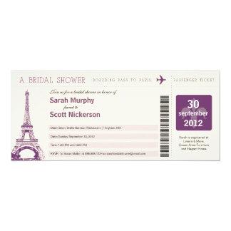 """Documento de embarque nupcial de la ducha a París Invitación 4"""" X 9.25"""""""