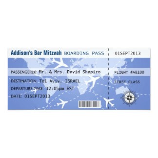 """Documento de embarque Placecard Invitación 4"""" X 9.25"""""""