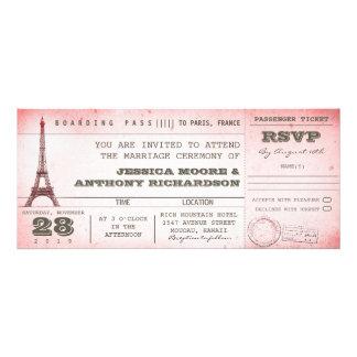documento de embarque rosado del boda del vintage anuncios personalizados