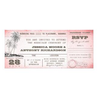 documento de embarque rosado del boda del vintage invitaciones personales