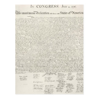 Documento de la Declaración de Independencia Tarjeta Postal