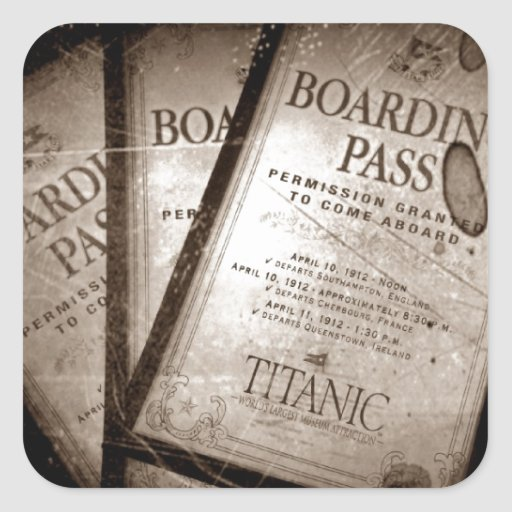 Documentos de embarque titánicos del RMS Pegatina Cuadrada