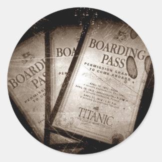 Documentos de embarque titánicos del RMS Pegatina Redonda