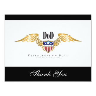 DOD (Dependents on Duty) wings Customize 4.25x5.5 Paper Invitation Card