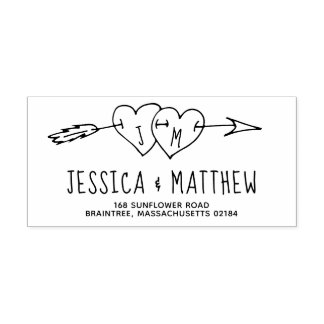 Doddled Wedding Hearts with Arrow Monogram Self-inking Stamp
