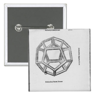 Dodecahedron, from 'De Divina Proportione' 2 Inch Square Button