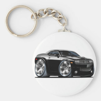 Dodge Challenger Black Car Basic Round Button Keychain