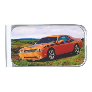 Dodge Challenger R/T Silver Finish Money Clip