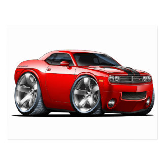 Dodge Challenger Red Car Postcard