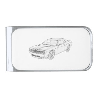Dodge Challenger Silver Finish Money Clip