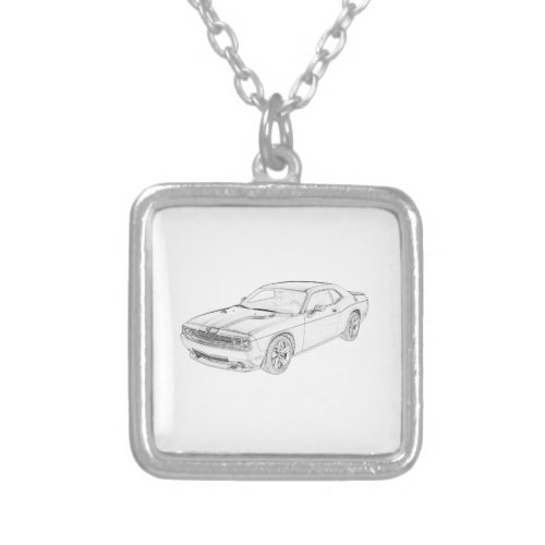 Dodge Challenger Silver Plated Necklace
