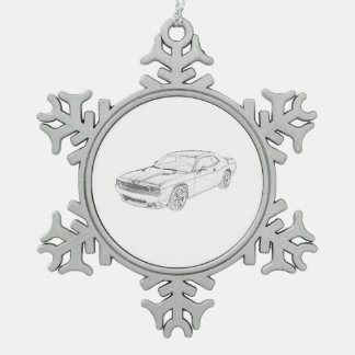 Dodge Challenger Snowflake Pewter Christmas Ornament
