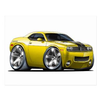 Dodge Challenger Yellow Car Postcard