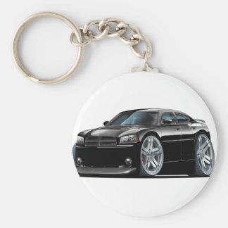 Dodge Charger Daytona Black Car Basic Round Button Keychain
