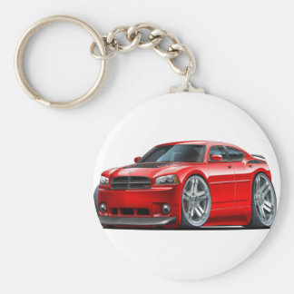 Dodge Charger Daytona Red Car Basic Round Button Keychain