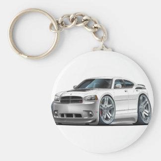 Dodge Charger Daytona White Car Basic Round Button Keychain
