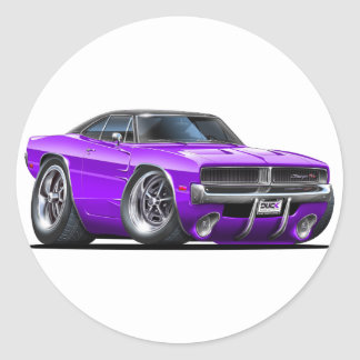 Dodge Charger Purple Car Classic Round Sticker
