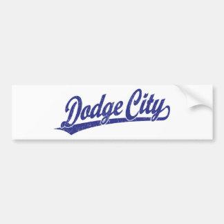 Dodge City script logo in blue Bumper Sticker