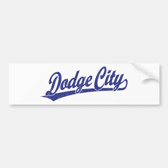 Dodge City script logo in blue Bumper Sticker