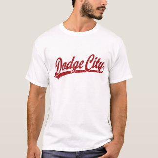 Dodge City script logo in red T-Shirt