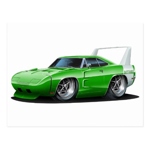 Dodge Daytona Green Car Postcards