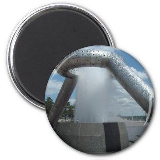 Dodge/Hart Plaza Fountain 2 Inch Round Magnet