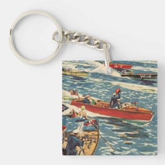 Dodge Motor Speed Boat Vintage Antique Row Ocean Keychain