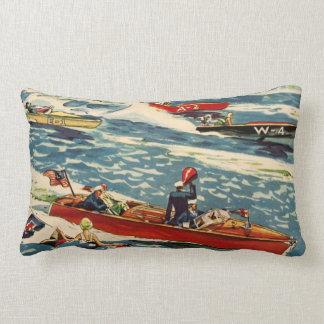 Dodge Motor Speed Boat Vintage Antique Row Ocean Lumbar Pillow