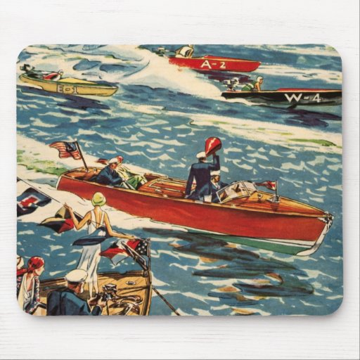 Dodge Motor Speed Boat Vintage Antique Row Ocean Mouse Pads