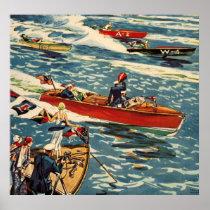 Dodge Motor Speed Boat Vintage Antique Row Ocean Poster