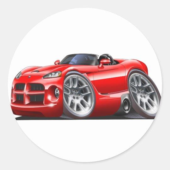 Dodge Viper Roadster Red Car Classic Round Sticker