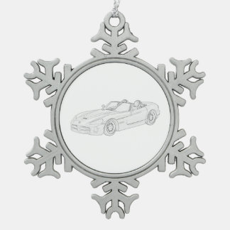 Dodge Viper Snowflake Pewter Christmas Ornament