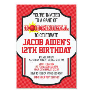 dodgeball birthday invitation dodge ball invite