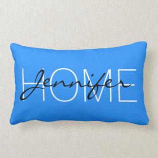 Dodger blue color home monogram throw pillow